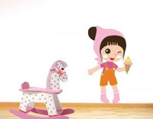 מדבקות קיר לחדרי ילדים, ילדה וגלידה